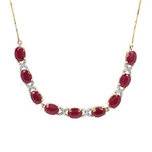 Burmese Ruby Necklace with Diamond in 9K Gold 9.15cts