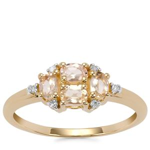 Ouro Preto Imperial Topaz Ring with Diamond in 9K Gold 0.75ct