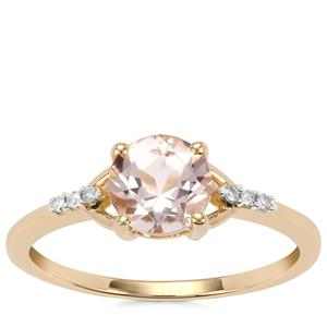 Alto Ligonha Morganite Ring with Diamond in 9K Gold 0.92ct