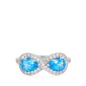 Topaz Ring with White Topaz in Rhodium Flash Sterling Silver 1.69cts