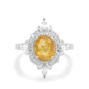 Burmese Amber & White Zircon Sterling Silver Ring ATGW 1.34cts