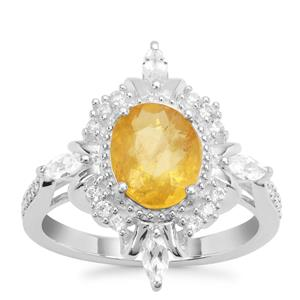 Burmese Amber Ring with White Zircon in Sterling Silver 1.34cts