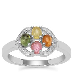Pederneira Multi-Colour Tourmaline Ring in Sterling Silver 0.84ct