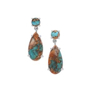 Oyster Copper Mojave Turquoise Earrings in Sterling Silver 18cts