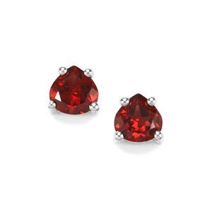 Rajasthan Garnet Earrings in Sterling Silver 1.11cts