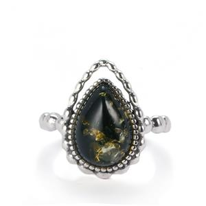 Baltic Green Amber Ring in Sterling Silver (13x9mm)