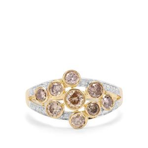 Champagne Diamond Ring with White Diamond in 9K Gold 1.22cts