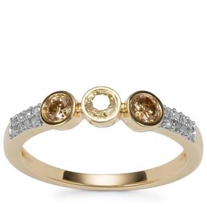 Natural Coloured Diamond Ring with White Diamond in 10K Gold 0.50ct