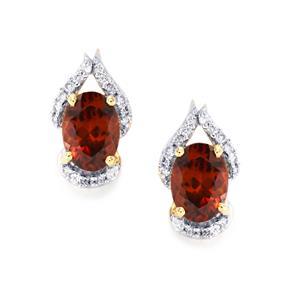 Zanzibar Zircon Earrings with Diamond in 18k Gold 2.85cts