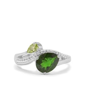 Chrome Diopside, Peridot & White Zircon Sterling Silver Ring ATGW 2.16cts