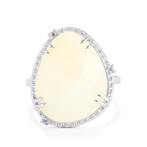 Rainbow Moonstone & White Topaz Sterling Silver Ring ATGW 11.53cts