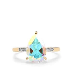 Mercury Mystic Topaz & Diamond 10K Gold Ring ATGW 3.40cts