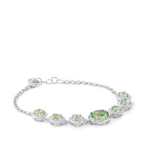 Fern Green Quartz & White Topaz Sterling Silver Bracelet ATGW 5.55cts