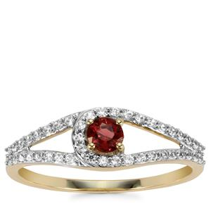Mahenge Red Spinel Ring with White Zircon in 9K Gold 0.51ct