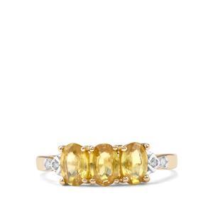 Ambilobe Sphene & Diamond 9K Gold Ring ATGW 1.65cts