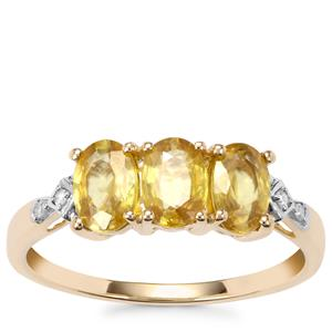 Ambilobe Sphene Ring with Diamond in 9K Gold 1.65cts