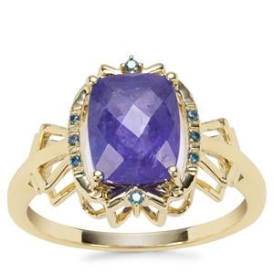AAA Tanzanite Ring with Blue Diamond in 9K Gold 2.90cts