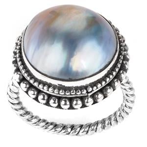 Mabe Pearl Samuel B Ring in Sterling Silver (15mm)