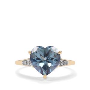 Santa Maria Topaz & Diamond 10K Gold Ring ATGW 4cts