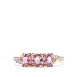 Sakaraha Pink Sapphire & Diamond 10K Gold Ring ATGW 1.32cts