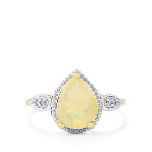 Ethiopian Opal & White Zircon 10K Gold Ring ATGW 1.53cts
