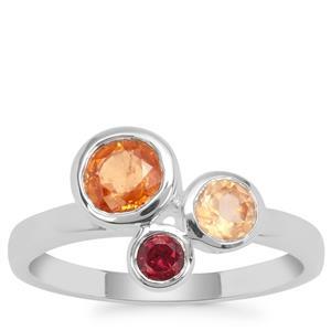 Rajasthan, Mandarin Garnet Ring with Mandarin Garnet in Sterling Silver 1.65cts