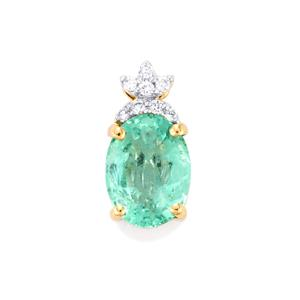 Ethiopian Emerald Pendant with Diamond in 18k Gold 1.17cts