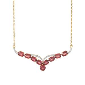 Garnet Necklace with White Topaz in Gold Plated Sterling Silver 7.04cts