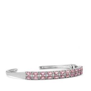 Sakaraha Pink Sapphire & White Topaz Sterling Silver Cuffs ATGW 5.32cts