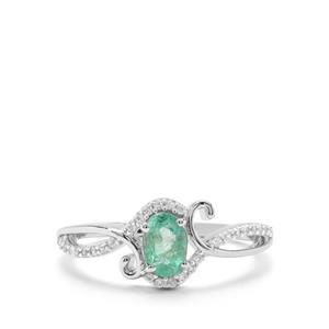Zambian Emerald & White Zircon 9K White Gold Ring ATGW 0.77cts