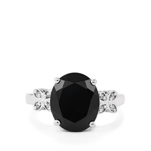 Black Spinel & White Zircon Sterling Silver Ring ATGW 5.88cts