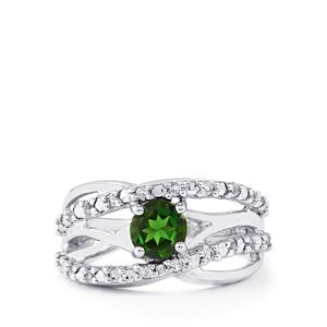 Chrome Diopside & White Topaz Sterling Silver Ring ATGW 1.15cts