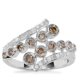 Champagne Diamond Ring with Diamond in Sterling Silver 0.76ct