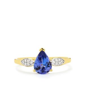 AA Tanzanite Ring with White Zircon in 10k Gold 1.15cts