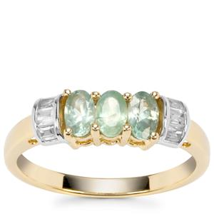 Alexandrite Ring with White Zircon in 9K Gold 0.93cts