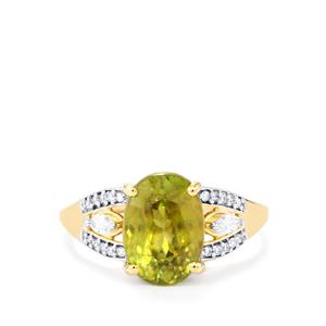Ambilobe Sphene Ring with Diamond in 18K Gold 4.38cts