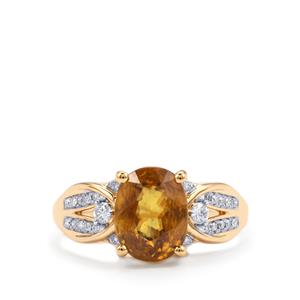 Morafeno Sphene Ring with Diamond in 18K Gold 3.74cts