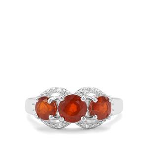 Loliondo Orange Kyanite & White Zircon Sterling Silver Ring ATGW 2.36cts