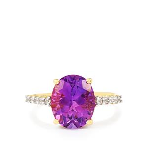 Moroccan Amethyst & White Zircon 10K Gold Ring ATGW 3.48cts