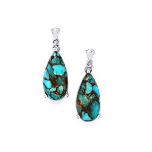 Egyptian Turquoise Earrings with Diamond in Sterling Silver 10.36cts