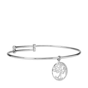 Sterling Silver Tree of Life Adjustable Bangle 4.32g