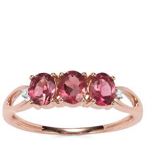 Cruzeiro Pink Tourmaline Ring with Diamond in 9K Rose Gold 0.95ct