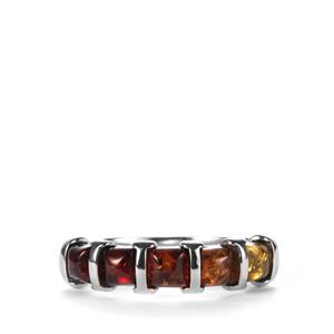 Baltic Cognac, Champagne & Cherry Amber Ring in Sterling Silver (4mm)