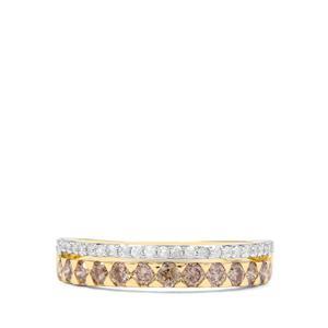 3/4ct Champagne & White Diamond 9K Gold Ring