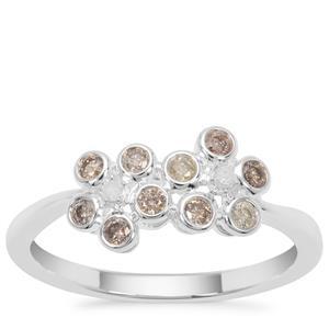 Multi-Colour Diamond Ring in Sterling Silver 0.27ct
