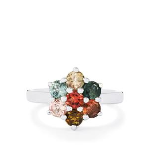 Rainbow Tourmaline Ring in Sterling Silver 1.43cts