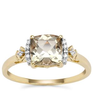 Peacock Parti Oregon Sunstone Ring with White Zircon in 9K Gold 1.41cts