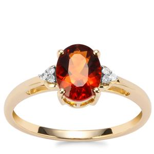 Madeira Citrine Ring with Diamond in 9K Gold 1cts