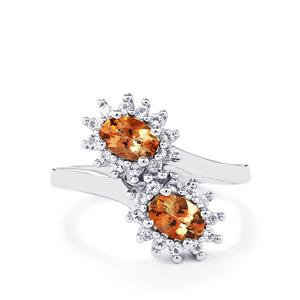 Gouveia Andalusite Ring with White Topaz in Sterling Silver 1.30cts