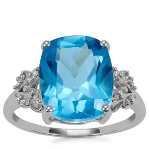 Swiss Blue Topaz Ring with Diamond in 10k White Gold 6.56cts